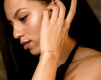 14k Rose Gold Filled Triangle Ring Bracelet, Dainty handchain bracelet, bohemian finger bracelet