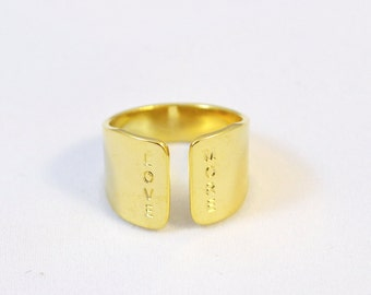 Gold Hand Stamped Ring with LOVE MORE quote/ Wide gold ring with love statement