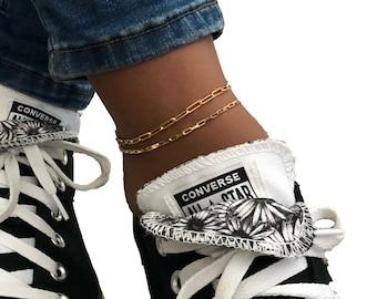 Gold anklet/ 14k gold filled ankle bracelet/ Elongated gold chain ankle chain/ Statement ankle bracelet