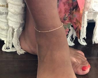 14k rose gold filled ankle bracelet/ Rose Gold Foot chain/ Simple rose gold anklet