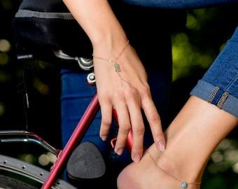 14k rose gold Hand chain bracelet/ Finger hoop bracelet, Wrist wrap bracelet