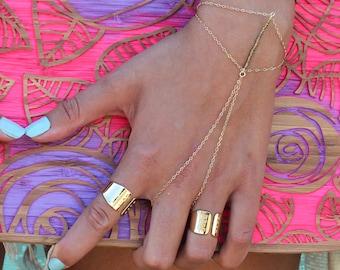 Gold Ring and Bracelet Combo, Boho Gold Bracelet, finger bracelet chain / Bohemian Jewelry
