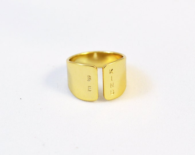 BE KIND hand stamped gold ring/ front split inspirational ring