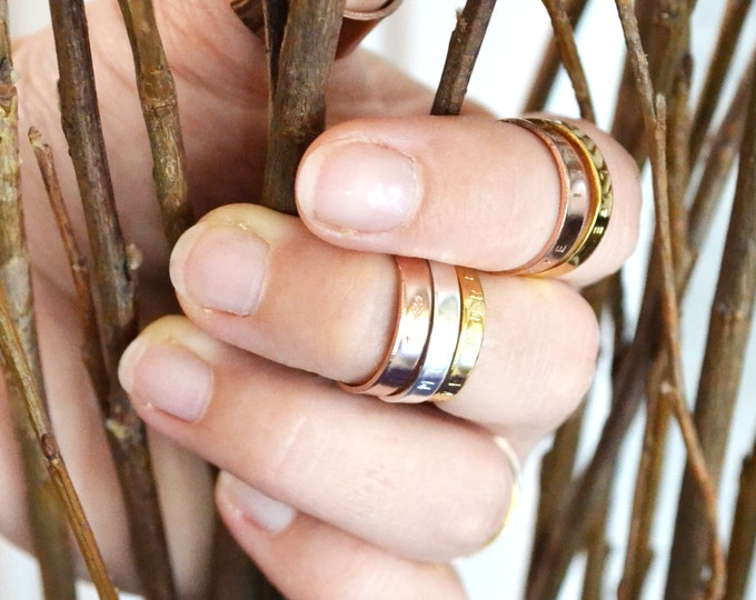 Rose gold midi ring, Personalized Gold knuckle ring, hand stamped small middle finger rings, stacking rings