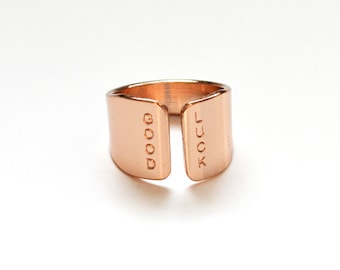 Rose gold Ring, GOOD LUCK rose gold ring/ hand stamped rose gold jewelry