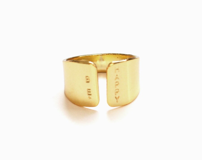 Wide Gold Cuff Ring, BE HAPPY hand stamped jewelry/ Unique wide ring, statement ring in gold