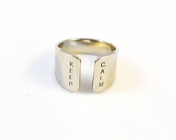 Yoga ring, KEEP CALM hand stamped silver ring with hand stamping/ Silver cuff ring
