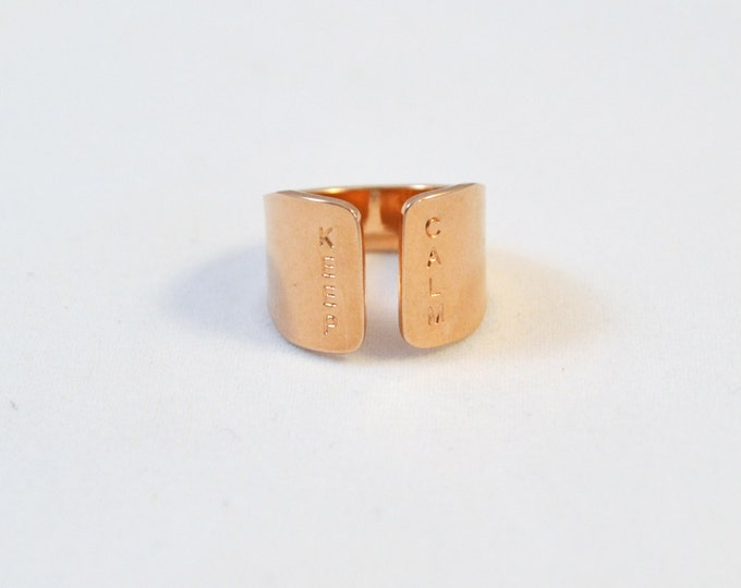 Rose gold ring  with KEEP CALM quote/ hand stamped jewelry in rose gold