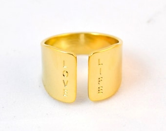 LOVE LIFE gold ring/ wide ring with unique statement