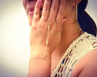 Gold Filled Ring Bracelet, Gold Slave Bracelet/ Ring Bracelet with Adjustable Size