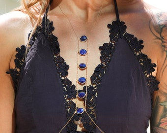 Body chain jewelry/ Blue and gold body necklace/ Stone Body chain, Body harness