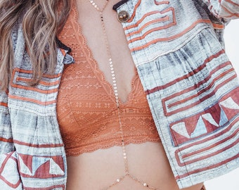Rose Gold Body chain jewelry/ Rose gold Body harness/ Rose gold body necklace/ rose gold bralette
