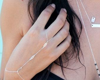 Sterling Silver Ring Bracelet/ bohemian style body bracelet/ hand chain bracelet with adjustable wrist