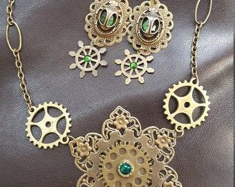 Brass/Bronze Filigree Mandala Flower Steampunk Gears Emerald Green Swarovski Crystal Gem Necklace & Matching Ornate Egyptian Scarab Earrings