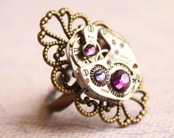 Double Purple Swarovski Crystal Gem Steampunk Watch Mechanism Brass Victorian Filigree Ring