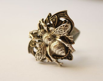 Unisex Silver & Aged Antiqued Bronze/Brass Adjustable Vintage Metal Bumble Bee Ring