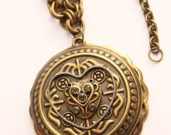 Victorian Brass Filigree Heart Circle Medallion Pendant Necklace