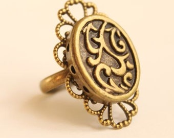Adjustable Victorian Art Nouveau Brass/Bronze Filigree Ornate Oval Swirl Ring