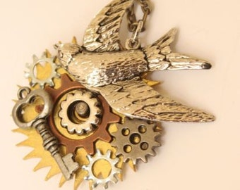 Silver Steampunk Swallow Bird Necklace With Silver And Brass Key Gears/Cogs Charms