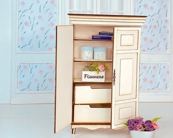 KIT - French country style armoire wardrobe – laser cut 1:12th scale KIT Miniature Diorama Roombox