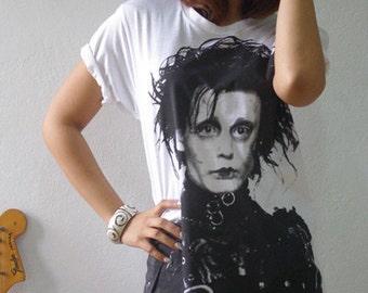 Edward Scissorhands Johnny Depp Tim Burton Hand  Printed T-Shirt S or M