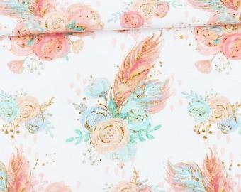 15,90 EUR / Meter Organic Jersey Watercolor Boho Feathers Flower Bouquet - white / pastel
