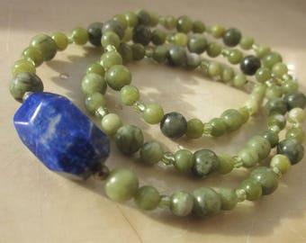 longer Lapis Lazuli Nephrite Peridot Necklace
