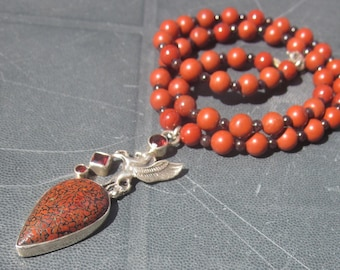 Dinosaur Bone red Jasper Garnet Necklace: Pegasus
