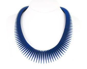 SERPENT 3D Printed Necklace (Blue on Black)