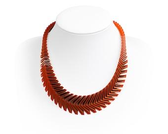 ARROW 3D Printed Necklace (Orange on Silver)