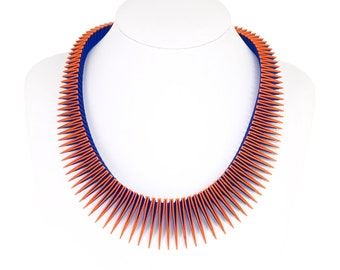 SERPENT 3D Printed Necklace (Orange on Blue)
