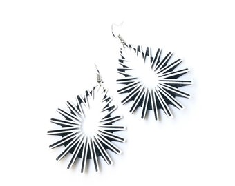 DROP 3D Printed Earrings (White on Black)