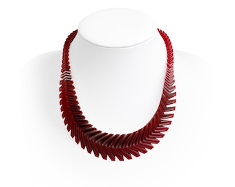 ARROW 3D Printed Necklace (Red on Silver)