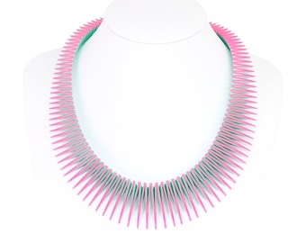 SERPENT 3D Printed r Necklace (Pink on Green)
