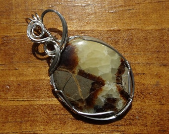 Beautiful Septarian Jasper Wire Wrapped Pendant