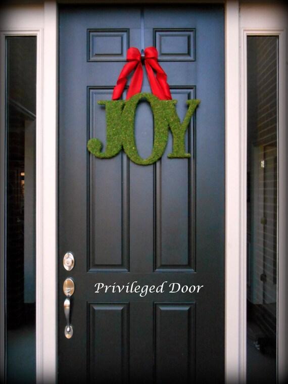 Joy Wreath Joy Letters Christmas Wreath Moss Joy Wreath Etsy