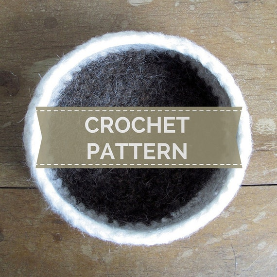 Crochet Pattern Tri Colour Felted Wool Bowl Pdf Instant Etsy