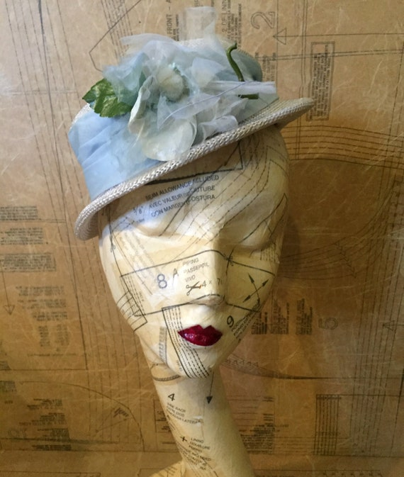 1950s Blue Floral Straw Hat