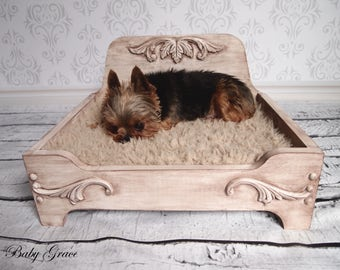 Small Wood Dog Bed Wooden Dog Bed Pet Bed Dog Furniture Cat Bed Luxury Dog Bed Pet Furniture Wood Pet Bed