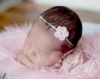 Newborn Headband, Crochet Headband, Infant Pink Headband, Newborn Girl Headband, Crochet Flower Headband, Newborn Photo Prop, Pink Headband