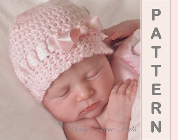 Baby Crochet Hat Pattern Baby Girl Hat Easy Crochet Pattern Etsy