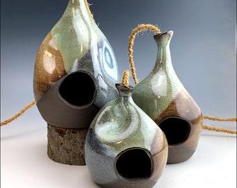 funky teardrop BIRDHOUSES   rustic black clay, coconut rope, bird feeder, indoor outdoor ornament, blue green Mountain Cross glaze