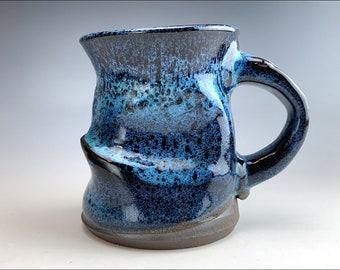 the CRUSHED COFFEE Mug Play   organic coffee mug, primitive soup mug, Asian noodle cup, office gift mug, black sapphire glaze on black clay