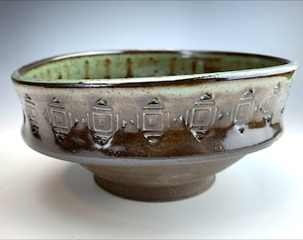 rustic ASYMMETRICAL BOWL   candy nut dish, one of a kind soup bowl, key coin device dish, spotted sage glaze, embossed aztec pattern, unique