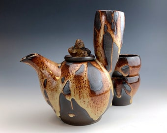 bouDAchi TEAPOT + 2 cups   Wildwoods Collection in Tiger Eye glaze, ancient Japanese handle, ceremonial collectible, flower centerpiece vase