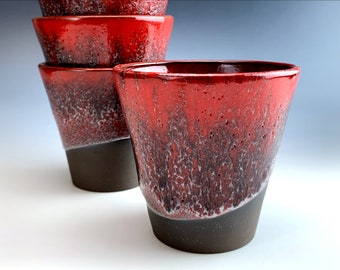 large red TUMBLERS   water glass, big luxurious red cups, flower pots, lava cake for 2 baking pot, soup bowl, midnight merlot, pencil holder