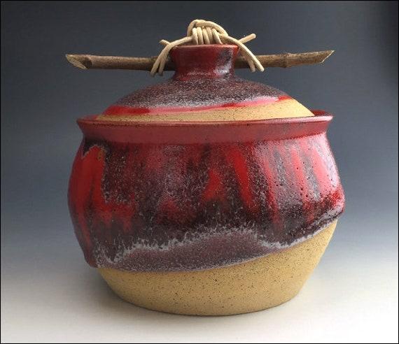 Renaissance Red Cookie Jar W Branch Handle Unique Cookie Etsy