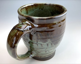 rustic stoneware COFFEE MUG   drippy blue green and reddish brown, textured slip, spotted sage glaze w/a twist, soup mug, only one made