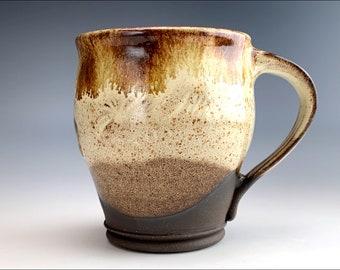 MUG PLAY   giant rustic stoneware coffee MUG   earthy country, soup mug, roomy handle, textured, creamy shino glaze, soup tea mug
