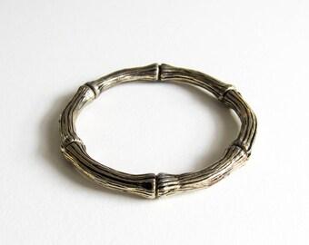 Vintage Gold Tone Bamboo Safari Themed Bangle Bracelet
